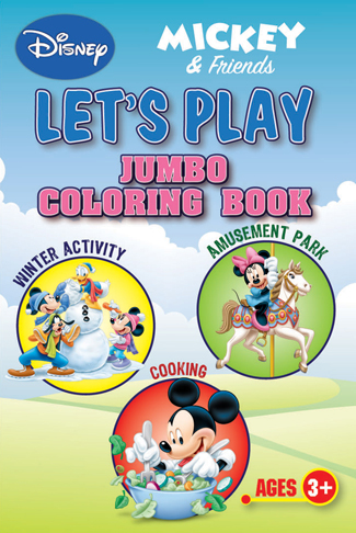 DISNEY MICKEY AND FRIENDS LETS PLAY Jumbo Coloring Book Ages 3